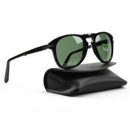 Persol Men's 0PO0714 95/58 52 Aviator Sunglasses,Black Frame