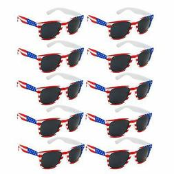 10 Pack | Kids Toddler to Child American Flag Sunglasses USA