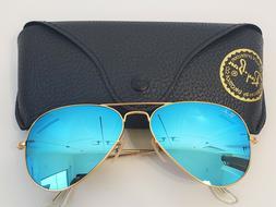 100% Authentic Ray Ban Aviator Sunglasses Blue Flash Lens 58