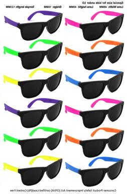12 Pack Kids Size Neon Sunglasses w/CPSIA certified-Lead Con