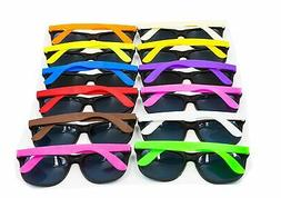 XKX 12PCS Neon 80's Style Party Sunglasses With Dark Lens Fo