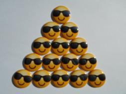 "15 ct 1"" Smiley Sunglasses Face Emoji Cabuchon Pin Backs Pin"