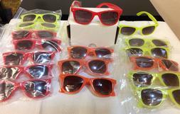 17 Pair Sun Glasses Lot Retro Optix UV400 CE 3 Neon Colors M
