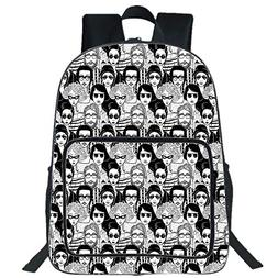 """19""""Large Casual Backpack,Doodle,Crowded Street Sunglasses on"""