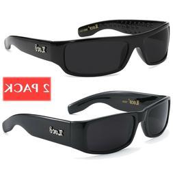 2 PACK LOCS Black Sunglasses Mens Gangster Biker OG Motorcyc
