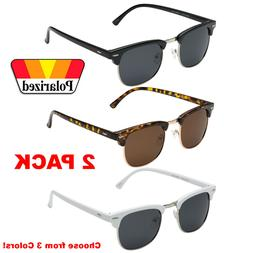 2 PACK Polarized Club Sunglasses Men Vintage Metal Master Ha