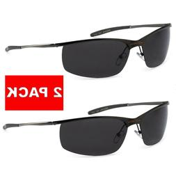 2 Pack X-Loop Polarized Mens Metal Frame Semi Rimless Sport
