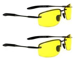 2 Pack Yellow Polarized Lens BeOne Rimless Men's Night Drivi