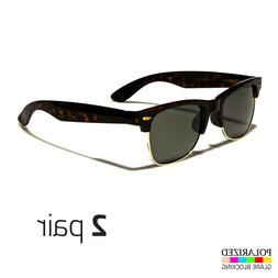 2 Pair Polarized Retro Sunglasses Men's Vintage Metal Half F