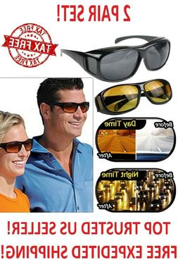 2 Pair Set Hd Night Vision Wraparound Sunglasses As Seen On