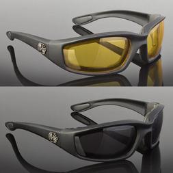 2 Pr Combo Chopper Padded Wind Resistant Sunglasses Motorcyc