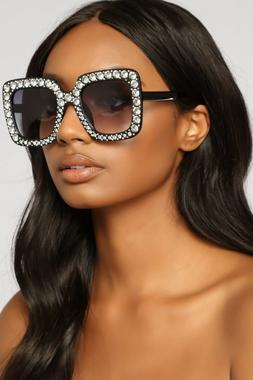 2018 NEW Oversized Square Frame Bling Rhinestone Sunglasses