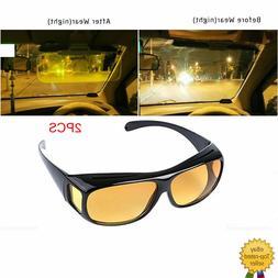 2PCS HD Night Vision Sunglasses Glasses Eyewear For Driver M