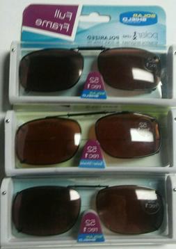 3 Solar Shield Clip On Sunglasses 52 REC 1 Brown Full Frame
