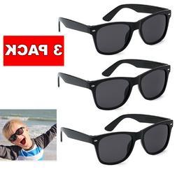 3 Pack Lot KIDS Toddler BOYS GIRLS Black CLASSIC RETRO SUNGL