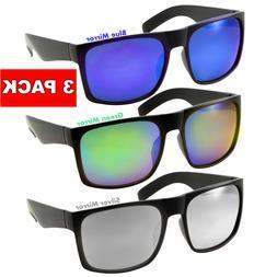 3 Pack XL Men's SUNGLASSES WIDE Big Head Color Mirror BLACK