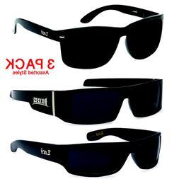3 Pair MEN Dark Lens GANGSTER BLACK OG Sunglasses LOCS BIKER