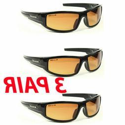 3 Pair Sport Wrap Hd Night Driving Vision Sunglasses High De