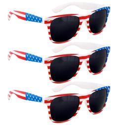 3 Pair USA American Flag Red White Blue Frame Black lens sun