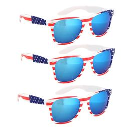 3 Pair USA American Flag White Frame Blue Mirror lens sungla