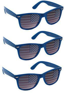 3 PAIRS BLUE American USA Flag Sunglasses Patriotic United S