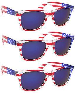 3 PAIRS BLUE LENS American USA US Flag Sunglasses Patriotic