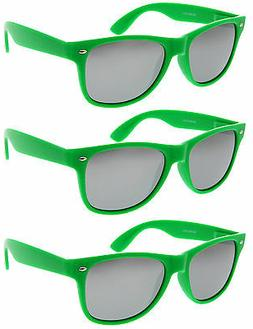 3 Pairs GREEN SILVER MIRRORED LENS Sunglasses lot new classi