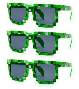 3 PAIRS GREEN wholesale 8-Bit Pixel Gamer Geek Costume Sungl