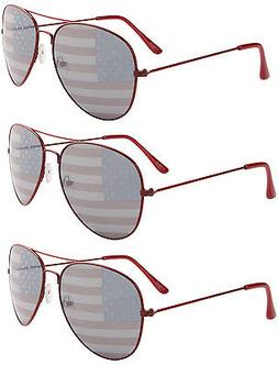 3 PAIRS RED Aviator USA American US Flag Sunglasses United S
