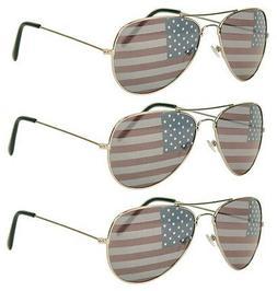 3 PAIRS SILVER Aviator USA American US Flag Sunglasses Unite