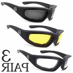 3 PC COMBO Chopper Padded Wind Resistant Sunglasses Motorcyc