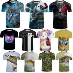 3D Fashion Men Fish Cat Print T-Shirt Short Sleeve Clothes S