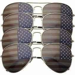 4 PACK Womens Bulk USA American Flag Aviator Sunglasses Gold