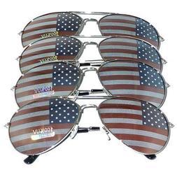 4 PAIRS of SILVER US Aviator USA American Flag Sunglasses Un