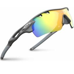 RIVBOS 801 Polarized Sports Sunglasses with 5 Lenses - Grey