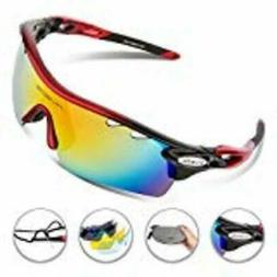 RIVBOS 801 Unisex Polarized Sports Sunglasses with 5 Interch