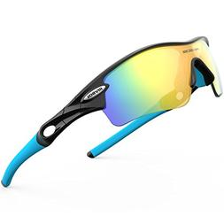RIVBOS 805 POLARIZED Sports Sunglasses with 5 Set Interchang