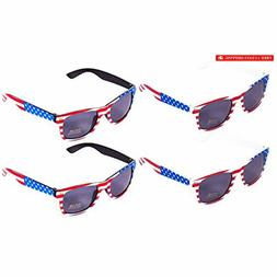 American Flag Sunglasses Pack of 4 - USA Party Sunglasses -