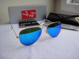 Authentic Ray-Ban Sunglasses Aviator RB3025 112/17 Gold Fram