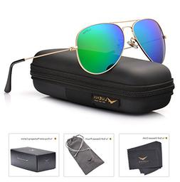 LUENX Aviator Sunglasses for Men Women Polarized Green Mirro