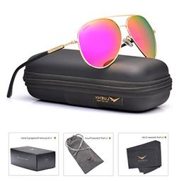 LUENX Aviator Sunglasses for Women Polarized Mirrored Rose R