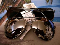 Aviator Sunglasses Extra Large Silver Mirrored Lenses Over S