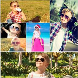 Aviator Sunglasses for Kids Girls Boys Children Small Face E
