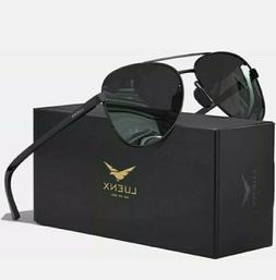 LUENX Aviator Sunglasses for Men with Case -A11