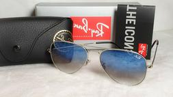 RAY-BAN AVIATOR SUNGLASSES LIGHT BLUE GRADIENT LENS SILVER F