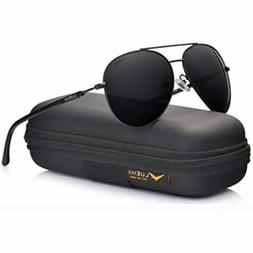 LUENX Aviator Sunglasses Mens Women Polarized Black Lens Bla