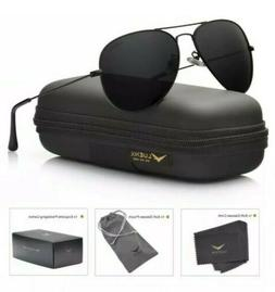 LUENX Aviator Sunglasses Polarized Men/Women Black Lens Blac