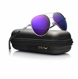 LUENX Aviator Sunglasses Womens Polarized Mirror Purple Lens