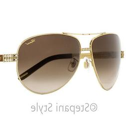 Chopard Aviator Sunglasses SCHB24S 0R26 Gold/Brown 63mm B24