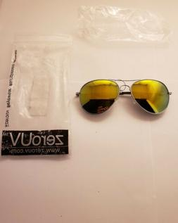 ZeroUV Aviator Sunglasses Silver Frame with Yellow/Green Len
